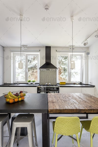 Modern kitchen with different tables