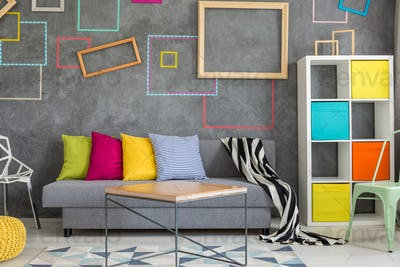 Concrete wall with colored frames