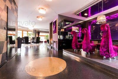 Luxurious plush furniture in rich colours
