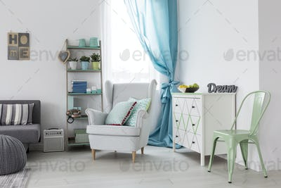 Living room with mint chair and white armchair