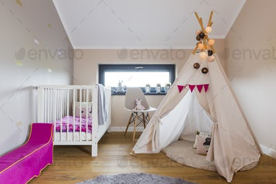 Indian tent in child's room