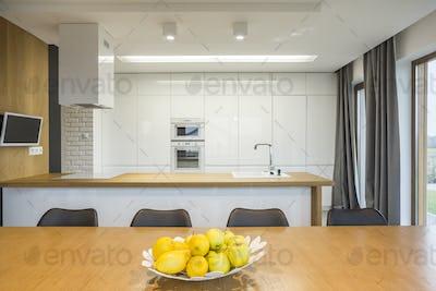 Open plan kitchen interior