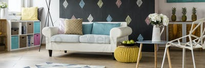 Coy room in pastel colours