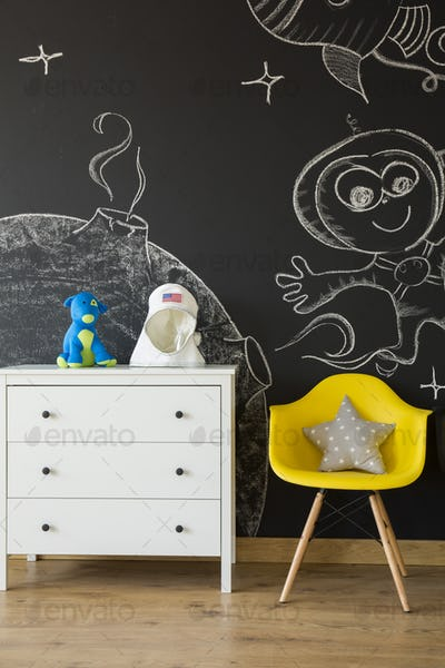 Commode at blackboard background