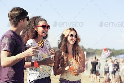 Friends during festival in the fresh air