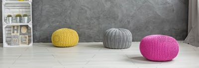 Lovely colorful accessories in combination with concrete