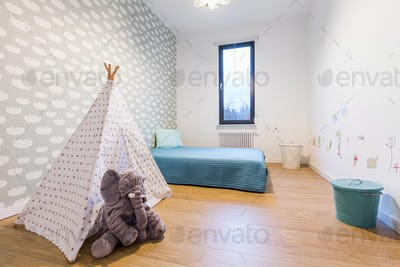 Children room with tipi tent