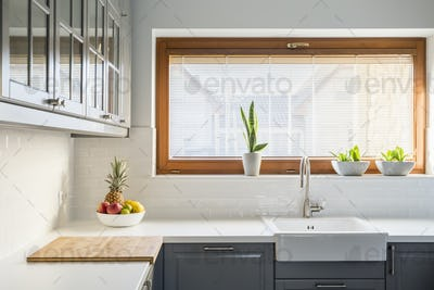Light kitchen with white countertop