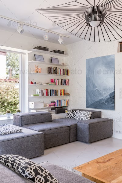 Lounge room with grey sofas