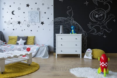 Cozy space-themed room