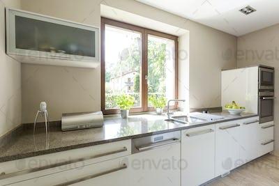 Bright kitchen with modern eguipment