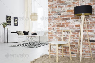Functional loft with brick wall