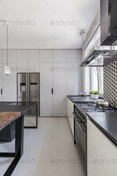 White kitchen with fitted cabinets