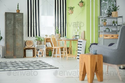 Bright apartment with old wardrobe