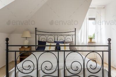 Stylish bedroom at tiny house