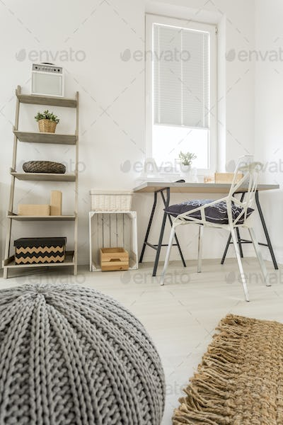 White, grey and wooden room