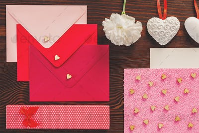 Colorful envelopes and hearts