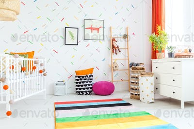 Baby room with white dresser