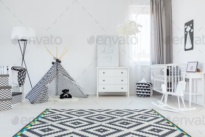 Baby boy room with tent
