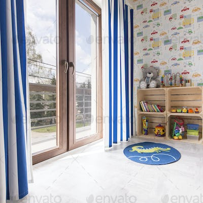 Boy room with car wallpaper
