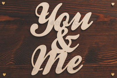 You&me wood letters