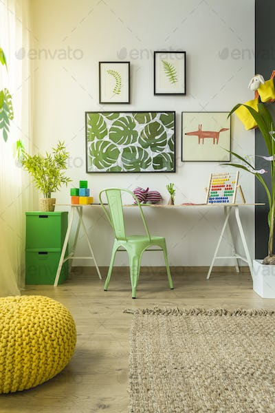 Child study room with desk