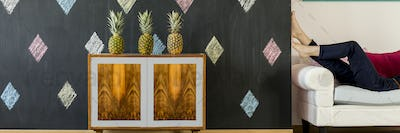 Renovated cabinet and blackboard wall