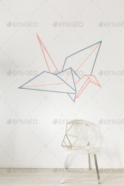 Origami crane bird