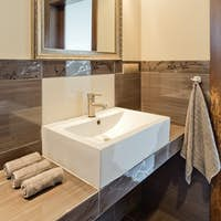 Sink and mirror in brown bathroom