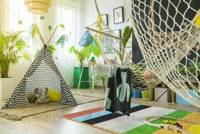 Kids play room with tent