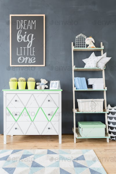 Functional and beautiful children's room storage space