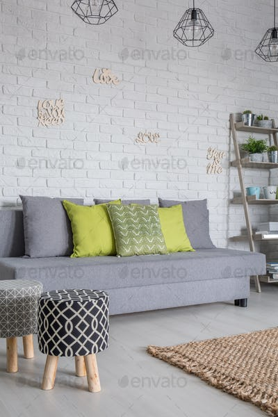 Sofa and upholstered stools