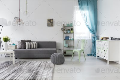 Spacious living room with comfortable couch