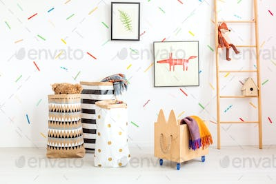 Child room with toy bags
