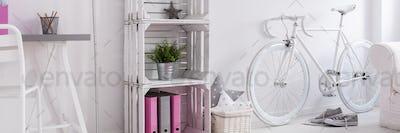 DIY bookstand in minimalist room