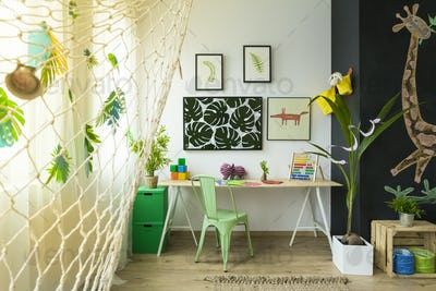 Kids study space with desk