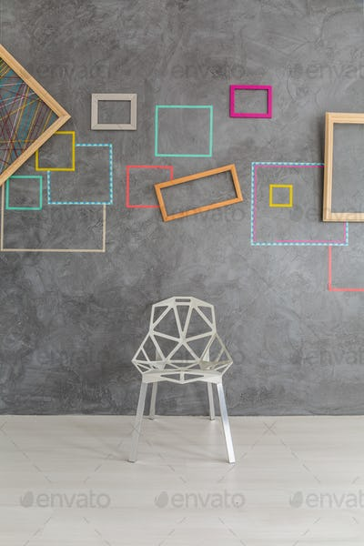 Design modern chair in front of wall