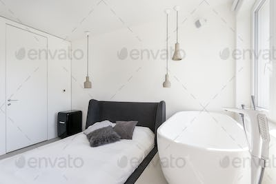 Ascetic bedroom with oval bathtub