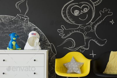 Chalkboard wall with creative drawings