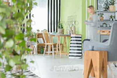 Green flat with decorative plants