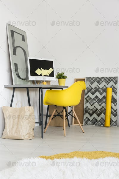 Yellow chair and desk