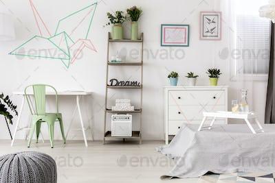 Original origami decoration in bedroom