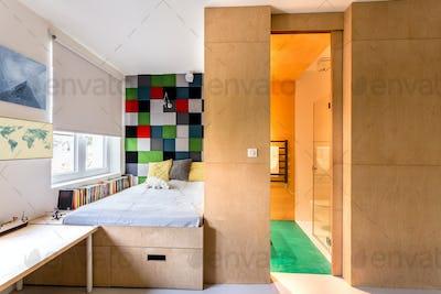 Modern kids bedroom with wooden walls