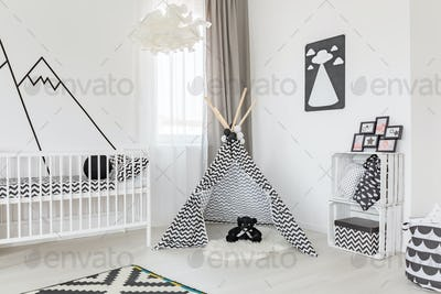 Black and white room decoration