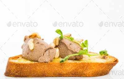Delicious bruschetta with chicken liver pate.