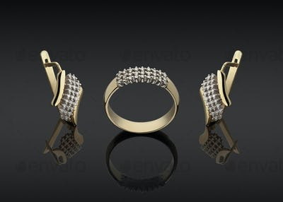 gold ring and earrings with diamonds