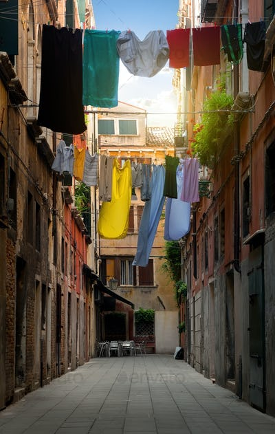 Drying clothes on the street