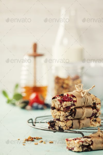 Granola bar on a blue rustic table