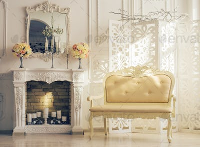 Classic white Interior Of Living Room With Sofa Near Fireplace