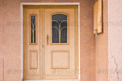 Wooden front door of a home